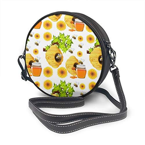Bijen En Bijenkorven Ronde Schoudertas Lederen Messenger Bag Vintage Crossbody Verstelbare Schouderband Voor Vrouwen Gepersonaliseerd