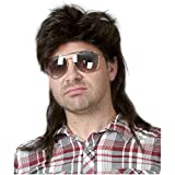 Kaneles Mullet Wigs for Men 70s 80s Costumes Mens Black Fancy Party Accessory Cosplay Hair Wig