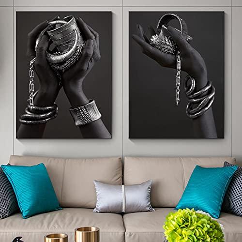 NFXOC Pintura de Piel Negra Africana para Mujer, Pulsera de Plata Moderna, Lienzo artístico, póster Impreso, Imagen para Sala de Estar, decoración de Pared para el hogar (50x75cm) 2 Piezas sin Marco