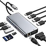 Docking Station Hub USB C 2 HDMI, Adattatore USB C Triplo Display 12 en 1 con Ethernet, VGA, USB 3.0, USB 2.0, 100 W PD, Audio e lettore di carte SD / TF Compatibile con MacBook Pro / Air...