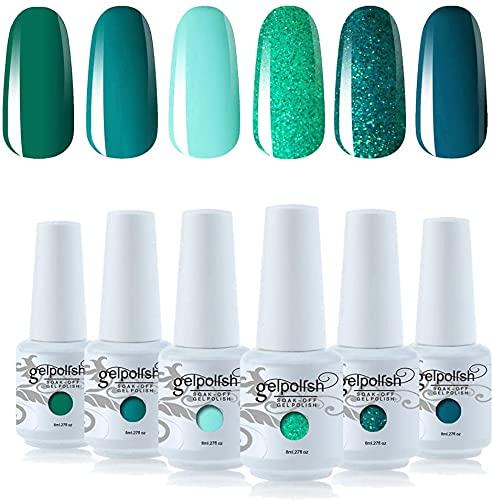 Vishine Gel Polish Set Green Teal Blue Glitter Colors 6pcs Soak Off UV LED Gel Nail Manicure Kit 8ML
