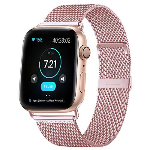 HILIMNY Compatible for Apple Watch Band 42mm 44mm, Stainless Steel Mesh Sport Wristband Loop with Adjustable Magnet Clasp for iWatch Series 1, 2, 3, 4, 5, Rose Gold