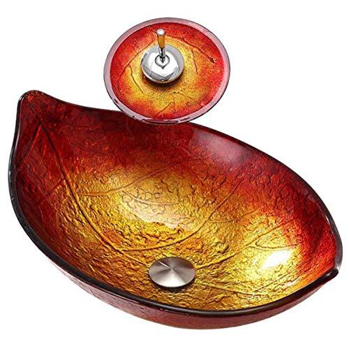 NANXCYR schip zinkt aquateriaal glas schip zinkt kunstenaarse bladeren patroon tegen badkamer toilet Vanity Bowl bekken met pop-up afvoergarnituur waterval-kraanset