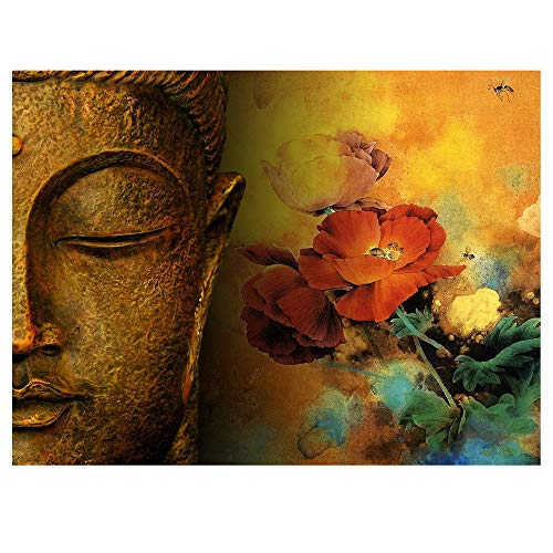 Glumes Paint by Numbers for Adults Kids DIY Painting - Buddha Head Rose - Acrylic DIY Number Painting Kits Wall Art Decor Gifts (Without Frame)