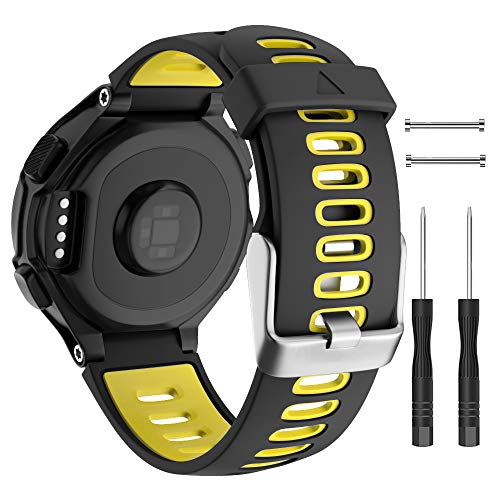 Pulseira de reposição para relógio Isabake para Garmin Forerunner 735XT/Approach S20 S5 S6 Alça de silicone macia com fivela de metal compatível com 735xt/220/230/235/620/630, Amarelo