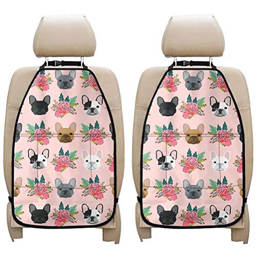 AFPANQZ 2X Car Kick Mat Small Car with Phone Tablet Holder Multi Mesh Pockets Large Universal Auto Back Seat Protector Organizer Kick Mats for Kids Car Travel Accessories Lovely French Bulldog Pink