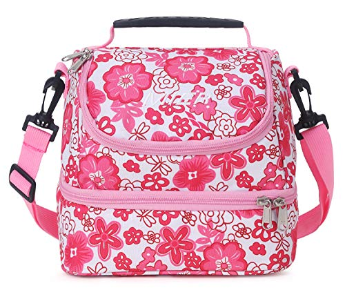 MIER Double Decker Insulated Lunch Box Pink Soft Cooler Bag Thermal Lunch Tote with Shoulder Strap (Pink Flower)