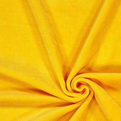 Fabulous Fabrics Nicki Stoff Uni – gelb — Meterware ab 0,5m — zum Nähen von Kissen, Hauskleidung und Sportkleidung