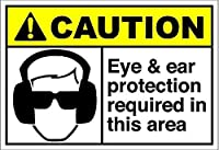 Eye & Ear Protection Required in This Area 金属板ブリキ看板警告サイン注意サイン表示パネル情報サイン金属安全サイン