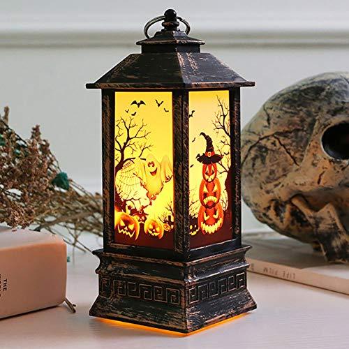 ybbghio Weinlese-Kürbis-Hexe-Geist-Entwurfs-Handflammen-LED-Licht, Halloween-Dekor-Lampen-Laterne KürbisNone
