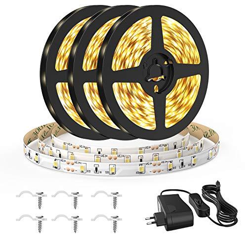 Onforu 15M LED Strip, IP65 Wasserdicht Streifen, 3000K Warmweiß Band, 12V Flexibel Lichtband mit Schalter, Selbstklebend 2835 450 LEDs Leuchtband Indirekte Beleuchtung für Küche, Schrank, Bett, Balkon