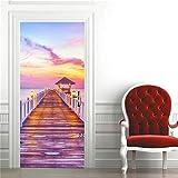 DFKJ Etiqueta engomada Visual de la Puerta 3D Papel Tapiz de decoración del hogar Impermeable Autoadhesivo Cartel decoración calcomanía Cabina telefónica Mural A16 77x200cm