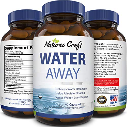 Water Away Supplement for Men and Women Natural Diuretic Pills Relieve Water Retention Fast Reduce Bloating Swelling for Weight Loss Pure Dandelion Green Tea 90 Capsules by Natures Craft (Best Way To Eliminate Bloating)
