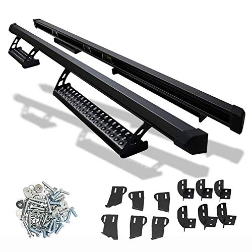 Nerf Bar Compatible With 2007-2018 Toyota Tundra Double Cab | Side Step Bar Running Boards Black by IKON MOTORSPORTS | 2008 2009 2010 2011 2012 2013 2014 2015 2016 2017
