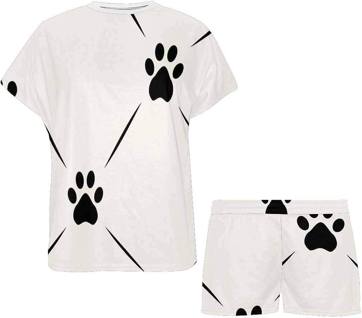 INTERESTPRINT Animal Paw Footprint Women's Pajama Sets Short Sleeve Shorts - Pajamas for Women