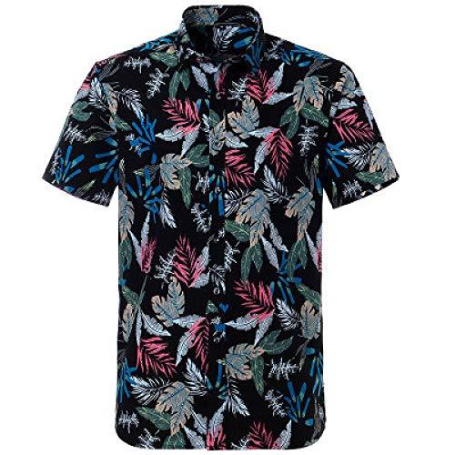 Jinyaun Camisa De AlgodóN Camisa Hawaiana para Hombre Camisa Informal De Verano con Estampado Floral En La Playa Camisa Casual De Campamento XS-XXL