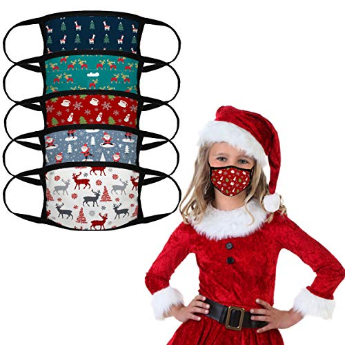 5PCS Kids Christmas Face Mask Warm Bandana Reusable Children Masks Washable Students Cover Breathable Cute Dust Covering for Boys and Girls