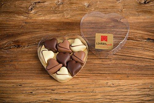 Bombones Románticos LOVERSpack presentados en caja con forma de corazón