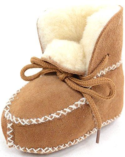 Snugrugs Chaussons en peau de mouton avec fermeture à lacets pour bébé/enfant - Marron - châtaigne,