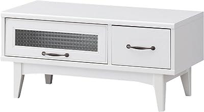 白井産業 ローボード 約 幅88 奥行40 高さ40 cm 32型 対応 テレビ台 AVボード ホワイト (RTA-4085FH レトロア)