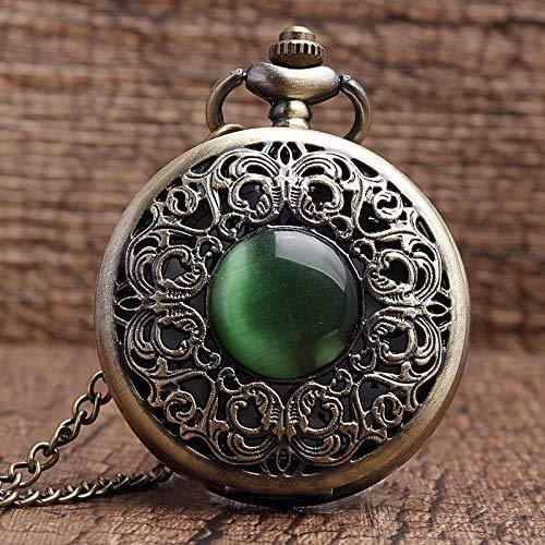 GIOAMH Montre de poche Bronze creux Imitation pierre de jade collier pendentifs décoré montre de poche émeraude décoration présente Chian hommes femmes cadeaux