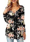 AMORETU Tunika Damen Blumen T-Shirt V Ausschnitt Knopfleiste Bluse Oberteil,1-schwarz,48(XL)