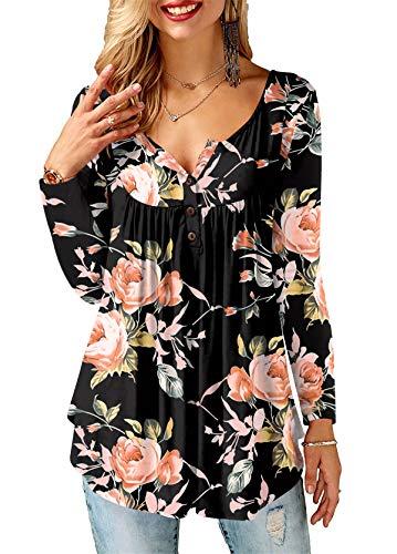 AMORETU Tunika Damen Blumen T-Shirt V Ausschnitt Knopfleiste Bluse Oberteil,1-schwarz,38(S)