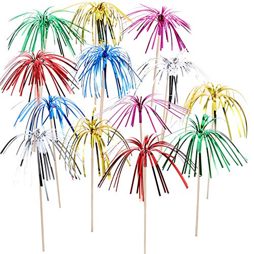 Lezed Fireworks Cocktail Sticks Cocktail Toothpick Palm Tree Cocktail Picks Fireworks Sticks Decoration for Cupcake Drinks Fruit Canapes Toppers Birthday Wedding Party Supplies 100PCS
