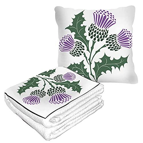 Manta de viaje de cardo escocés en bolsa suave, funda de almohada para rama de hierbas, flor verde, diseño de arte natural de las tierras altas cálidas, cojín para casa, coche, oficina