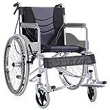 Silla de Ruedas Wheelchair Silla De Ruedas Autopropulsada, Silla De Ruedas Ligera Y Plegable De Aleación De Aluminio For Usuarios Mayores, Discapacitados Y Discapacitados, Con Freno De Mano, Reposapié