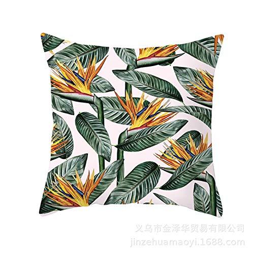 XINWO 1PCS Summer Cushion Cover Leaf Sofa Pillow Case Young Cushion Cover Soft Pillow Protective Cover Green Pillow Case 45x45cm