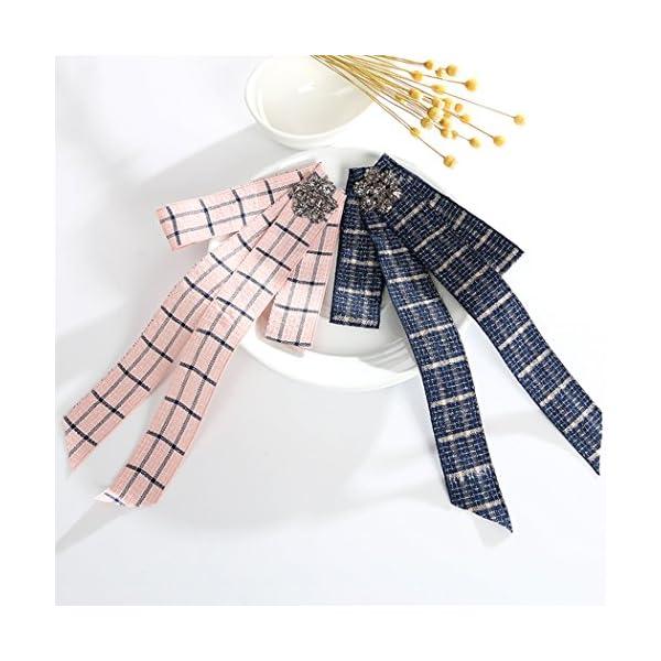 Fascigirl Ladys Bow Tie, Brooch Tie Elegant Crystal Plaid Necktie Shirt Tie
