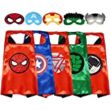 GREAMBABY Superhero Capes with Masks Dress up Costumes Halloween Cosplay Festival Birthday Party Favors for Kids (Superhero 5 Sets)