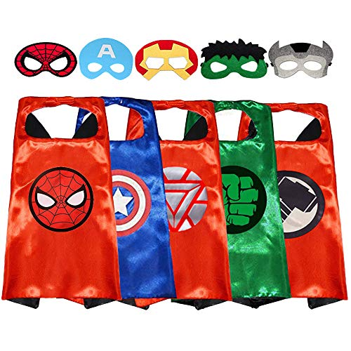 Superhero Capes with Masks Double Side Dress up Costumes Festival Christmas Halloween Cosplay Birthday Party Favors for Kids (Hulk 5 Sets)