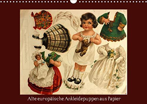 Alte europäische Ankleidepuppen aus Papier (Wandkalender 2021 DIN A3 quer)