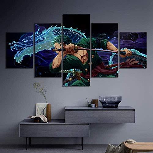 5 Stück Drucke Auf Leinwand Gedruckt Malerei Wohnzimmer Wand Kunst Leinwand Anime One Piece Zoro Poster Bild XXL Wohnzimmer Wohnkultur Kreatives Geschenk (Gerahmt)