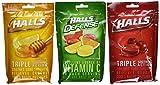 Halls Cough Drops 6 Pack - 2 Cherry, 2 Honey Lemon, 2 Assorted Citrus