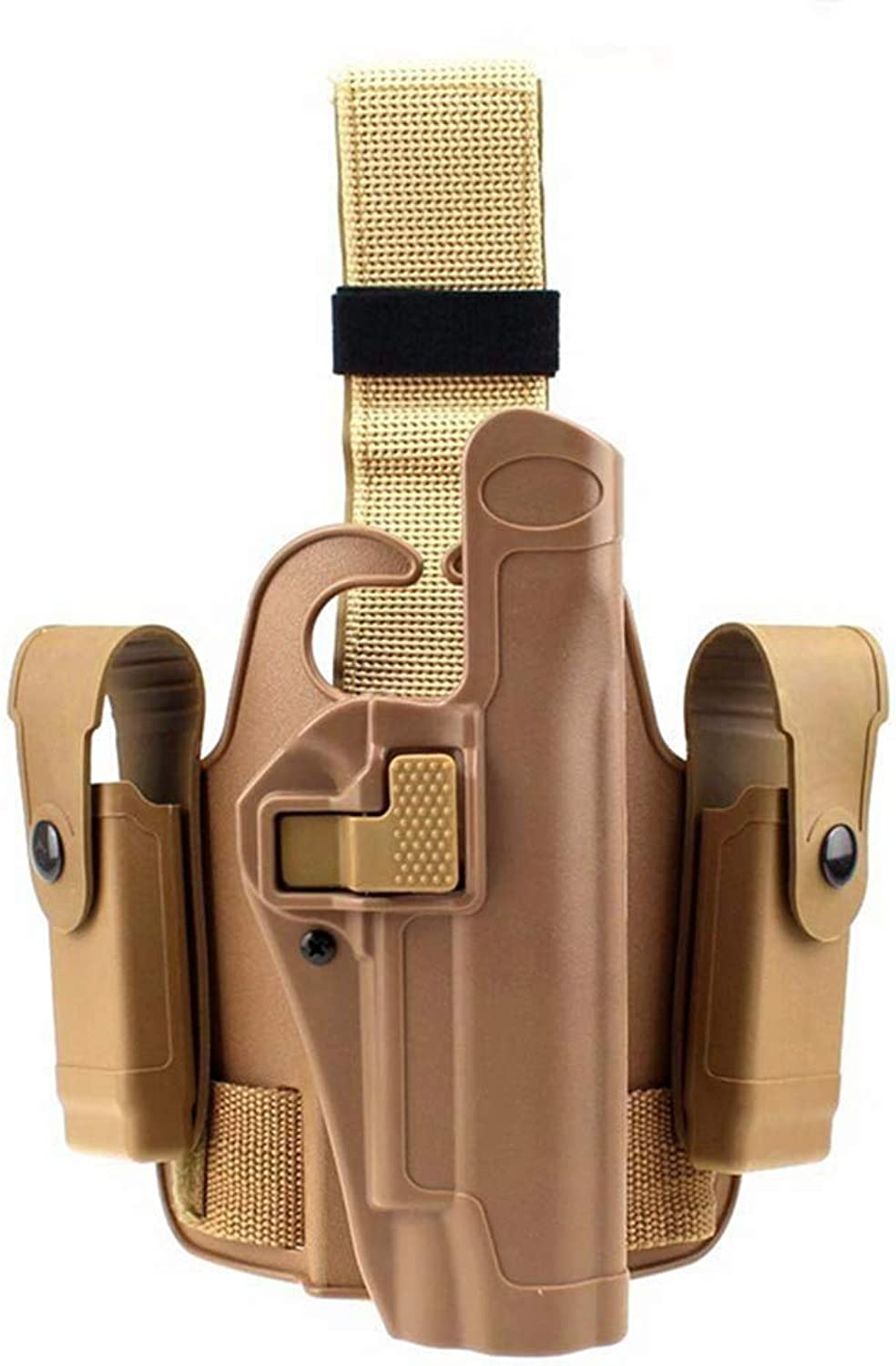 Quanlei Tactical Level 2 Duty Holster Drop Leg Holster Bag Thigh Right Leg Holster with Magazine Torch Pouch for Colt 1911 M1911