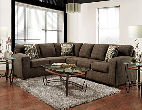 Roundhill Furniture Bergen Fabric Sectional Sofa, Espresso