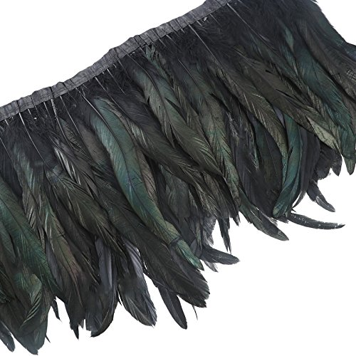AWAYTR Rooster Hackle Feather Trim 10-12 inches Width for DIY Sewing Crafts Pack of 1 Yard (Black)
