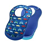 Weaning Baby bib Pack - 2 x Bibetta Ultrabib Baby Feeding Bibs with Crumb Catcher Pocket for Babies and Toddlers Roll up Neoprene Washable (Cars)