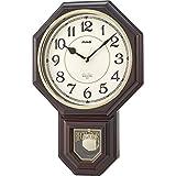 MAG(マグ) 掛け時計 振り子 非電波 アナログ 西洋館 連続秒針 16曲メロディ報時 ブラウン W-670BR