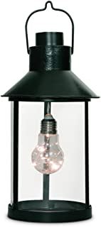 """Gerson Everlasting Glow 42784 Round Metal Lantern with Edison Bulb Including Light String with 5 Warm White LEDs, 5.82"""" by 10.82"""", Black"""