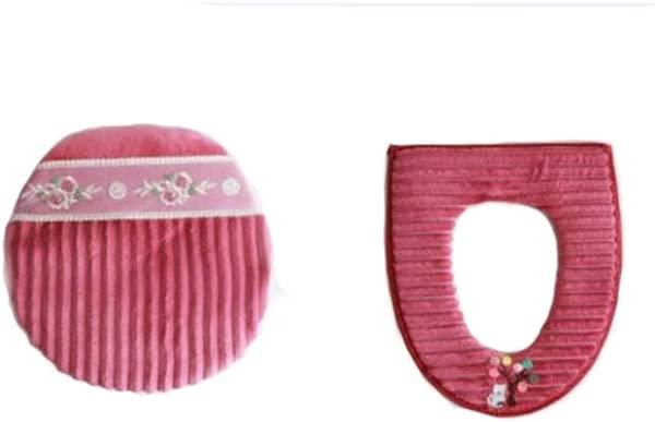 GJJ 马桶套套套两件套马桶套家用冬季马桶防水拉链套坐垫通用红色 A
