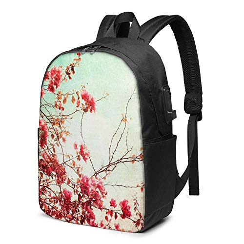 Laptop Backpack with USB Port Flower Floral 10, Business Travel Bag, College School Computer Rucksack Bag for Men Women 17 Inch Laptop Notebook