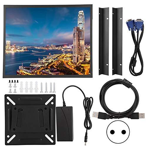 ASHATA 19 inch Full HD HDMI-monitor, capacitief multi-point touchscreen 1280 x 1024 4: 3-industriële metalen behuizing Embedded-monitor met VGA / HDMI / AV / USB-poort voor PC, CCTV, CCTV, camera, computer, EU.