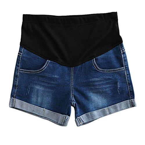 Yying Pantalones Cortos De Los Pantalones Cortos De Maternidad De Las Mujeres Casuales con Los Pantalones Cortos De Los Pantalones Vaqueros del Vientre De La Previsión Azul Oscuro XL