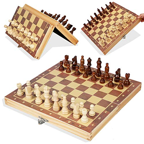 15 Inches Classic Magnetic Wooden Chess Set - Folding Board, Handmade Portable Travel Chess Board Game Sets - Beginner Chess Set for Kids and Adults