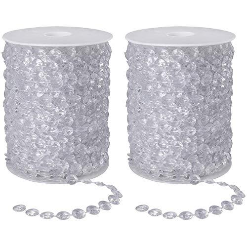2 Rollos Cuentas de Cristal Guirnalda de Cadena de Diamante Acrílico Beads...