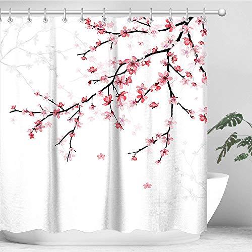 LIVILAN Cherry Blossom Duschvorhang, Blumen-Duschvorhang-Set mit 12 Haken, rosa Duschvorhang, japanisch, maschinenwaschbar, 182,9 x 182,9 cm
